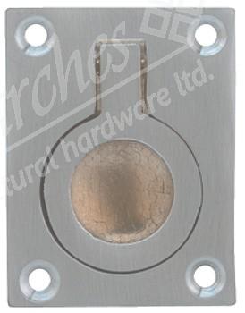 Flush ring pull handle, 52 x 38 mm