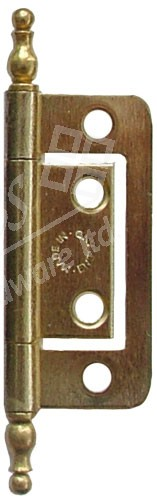 "2"" Finial Flush Steel Hinge Brass Plated (pair)"
