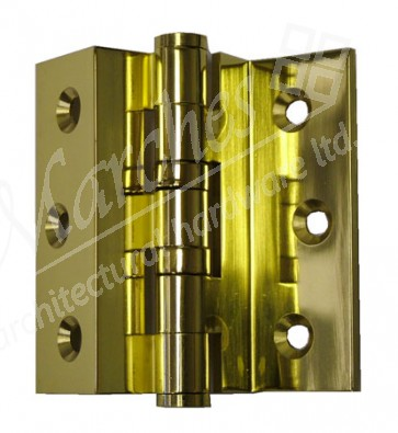 """3"""" Cranked Stormproof Hinges (pair) - Polished Brass"""