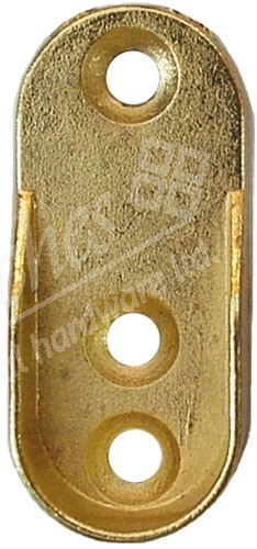 Wardrobe End Rail Support Polished Brass (Pack 2)