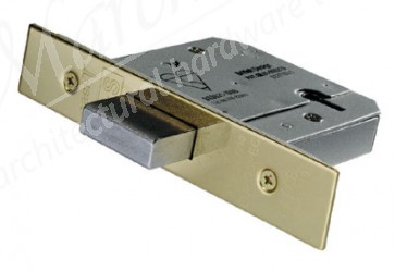 British Standard 5 Lever Deadlock 64mm - PVD Brass
