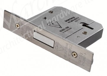 British Standard 5 Lever Deadlock 64mm - Satin Stainless Steel
