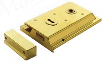 "Eurospec 6"" x 4"" Rim Lock Lipped - Polished Brass"