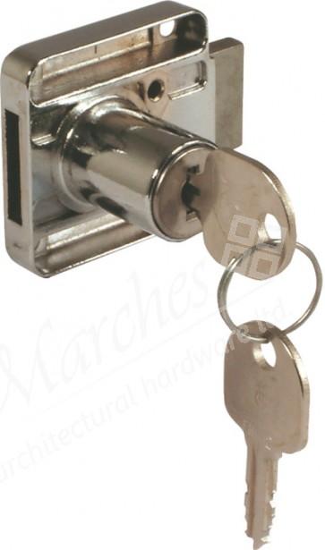 18mm Drawer Rim Lock - Nickel Plated