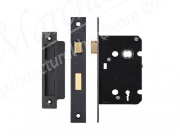 3 Lever Sash Lock 76mm - Black