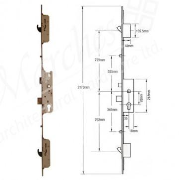 Fuhr 2 Rollers/2 Hooks 92mm Centres UPVC Lock 35mm Backset