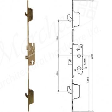 GU 2 Hooks 92 Centres UPVC Lock 28mm Backset