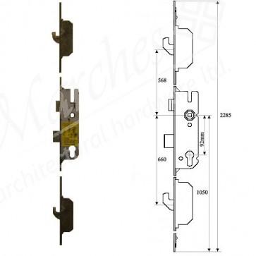 GU 2 Hooks 92 Centres UPVC Lock 35mm Backset