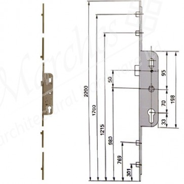 Ferco 4 Rollers 70 Centres UPVC Latch Only 35mm Backset