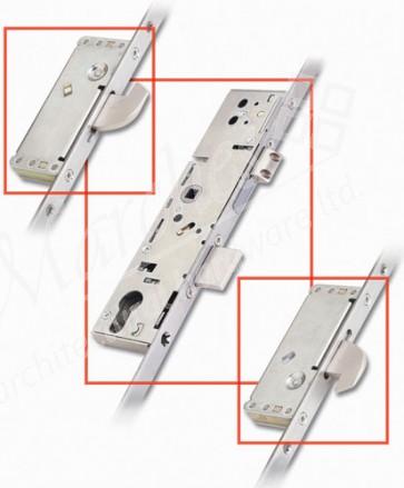 3 Point Door Lock 2 Hook 35mm Backset - Stainless Steel