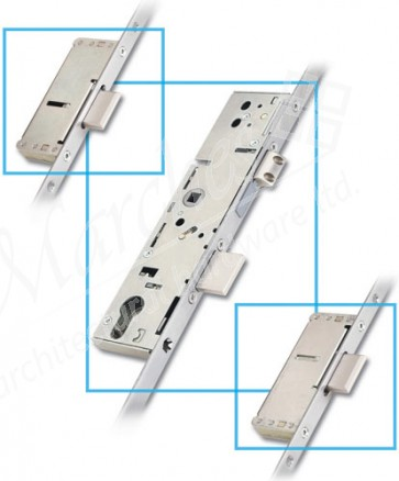 3 Point Door Lock 2 Linear 35mm Backset - Stainless Steel