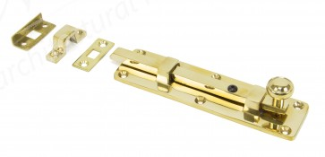 Universal Straight Door Bolts - Polished Brass - Various Sizes