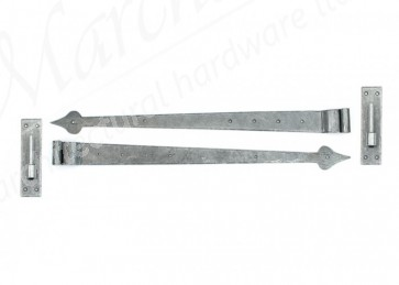 Pewter 35'' Hook & Band Hinge - Cranked (pair)