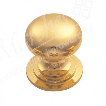 Victorian Cupboard Knob - Polished Brass