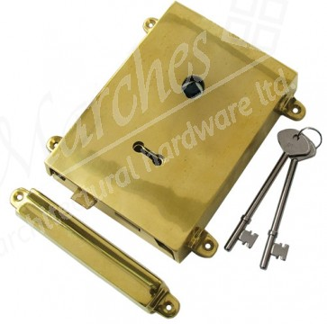 Brass Rim Lock with Solid Brass Cover + Keep