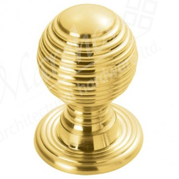 Queen Anne Cupboard Knob - Polished Brass