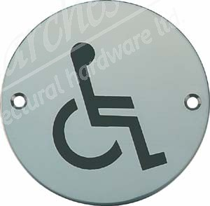 Disabled Toilet Sign - Satin Stainless Steel