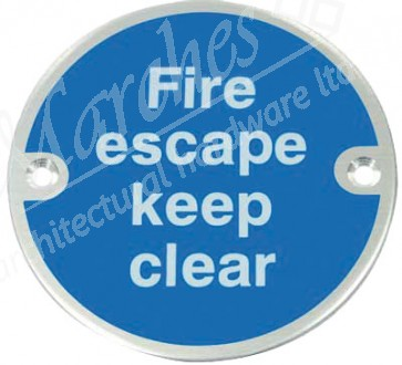 Fire Escape Keep Clear Sign - Satin Stainless Steel