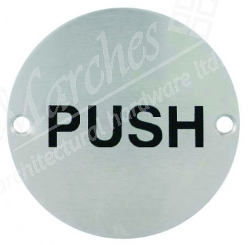 Push Disc Sign - Satin Stainless Steel