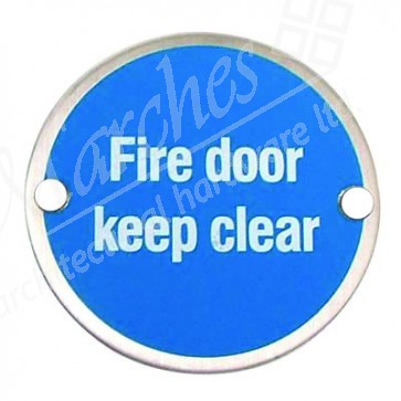 Fire Door Keep Clear Sign - Satin Stainless Steel