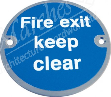 Fire Exit Keep Clear Sign - Satin Stainless Steel