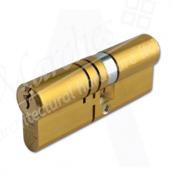 45(Ext)/35 3 Star Double Euro Cylinder Satin Brass