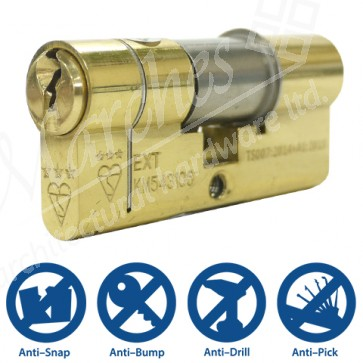 35/35 3 Star Double Euro Cylinder Polished Brass