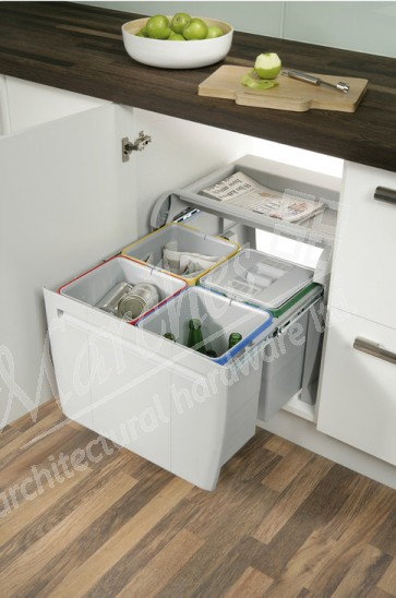 City Pull-Out Waste Bin (4x 12L)