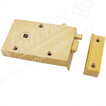 Left Hand Bathroom Latch - Polished Brass