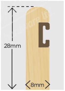 28mm x 8mm Timber Parting Bead + Carrier Primed 3m (Pack 10)