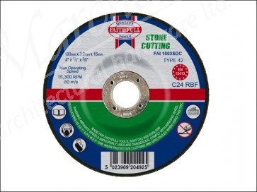 Cut Off Disc for Stone Depressed Centre 100 x 3.2 x 16mm
