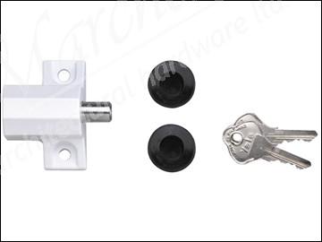 P114 Patio Door Lock White Finish Visi Pack
