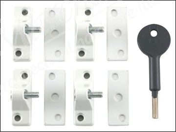 8K118 Economy Window Lock White Finish Pack 4 Visi Pack