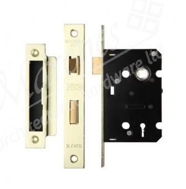 3 Lever Sash Lock 64mm - PVD Brass