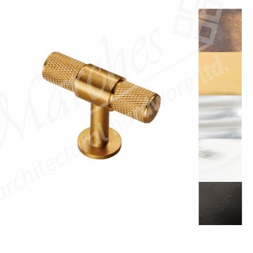 Knurled T-Bar Knob 50mm - Various Finishes