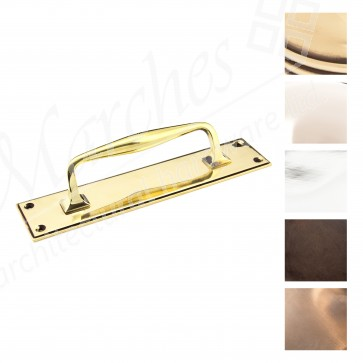 Small Art Deco Pull Handle on Backplate - Various Finishes