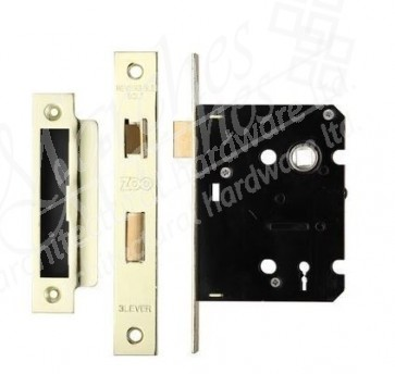 3 Lever Sash Lock - Brass (Various Sizes)