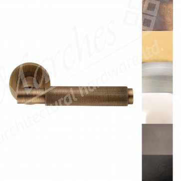 Varese Knurled Lever Handle on Rose - Various Finishes