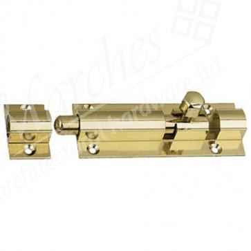 Straight Barrel Door Bolt - Polished Brass - Various Sizes