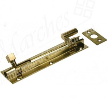 Cranked Barrel Door Bolt - Polished Brass - Various Sizes