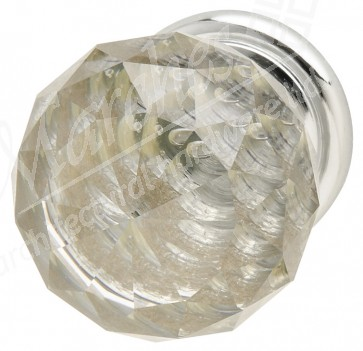Crystal knob - Polished chrome
