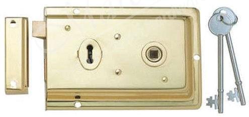 Union 1445 Double Hand Rim Lock - Brass - Rim Locks & Latches