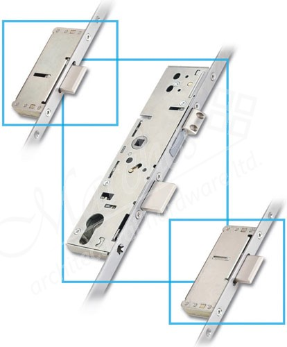 3 Point Door Lock 2 Linear 45mm Backset Stainless Steel