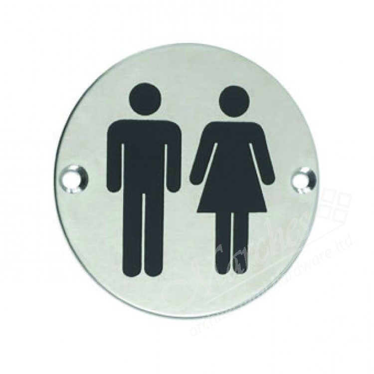 Unisex Toilet Sign Satin Stainless Steel Signs Commercial Hardware Door Furniture