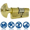 35/35 3 Star Euro Cylinder with Thumbturn Polished Brass
