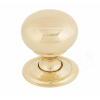 Mushroom Cupboard Knob - Polished Brass