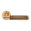 Varese Knurled Lever Handle on Rose - Satin Brass