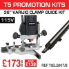 """T5ELB/KIT/B - 1000W 1/4"""" 115v Router & 36"""" Clamp Guide"""