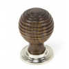 Rosewood and Polished Nickel Beehive Cabinet Knob