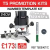 """T5EB/KIT/C - 1000W 1/4"""" 240v Router, Number Template, Cutter & Brush Set."""